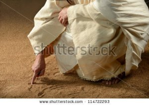 Jesus writing in the sand