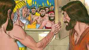 Men of Sodom demand Lot hand over the strangers to them