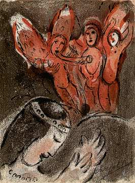 Sarah and the Three Angels by Marc Chagall