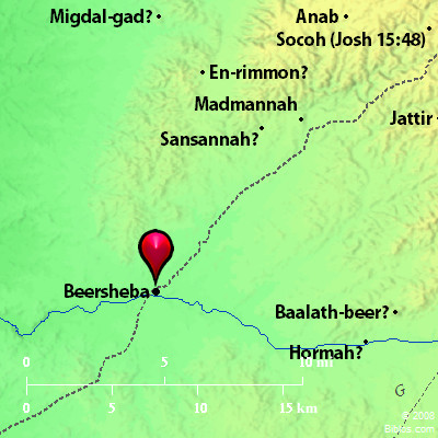 Map of Beersheba and surrounding area