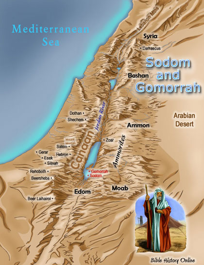Map showing Sodom and Gomorrah location