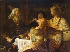 Abraham and the Three Angels by Rembrandt