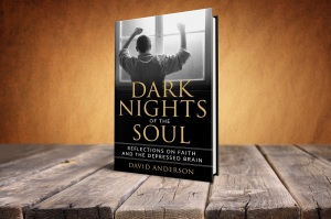 Book cover Dark Nights of the Soul on rustic table