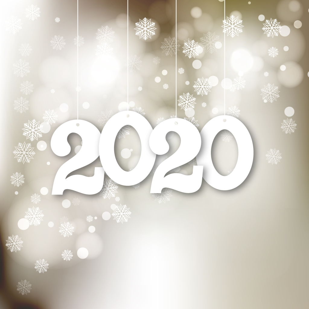 2020 with snow background