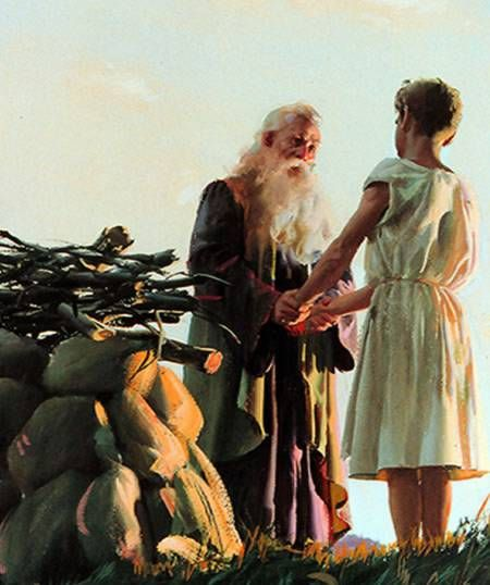 Abraham with Isaac at altar of burnt offering for him