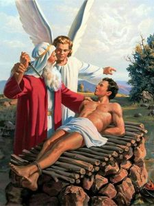 Angel prevents Abraham from sacrificing Isaac on the altar