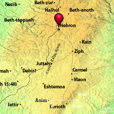 Map of Hebron, a.k.a., Kiriath-arba, and surrounding area