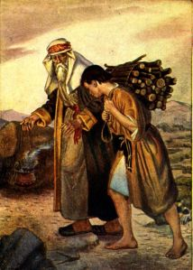 Isaac following his father with the wood for the burnt offering on his back