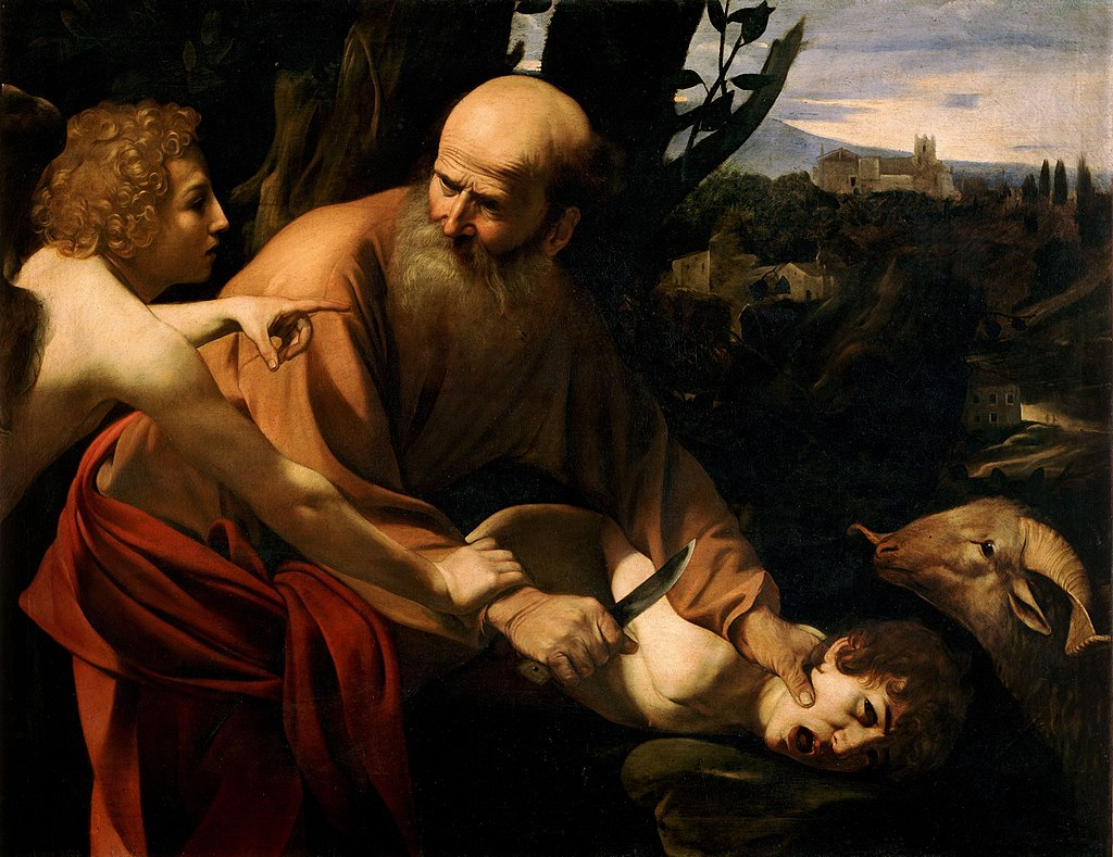 Angel stops Abraham from killing Isaac, ram shown