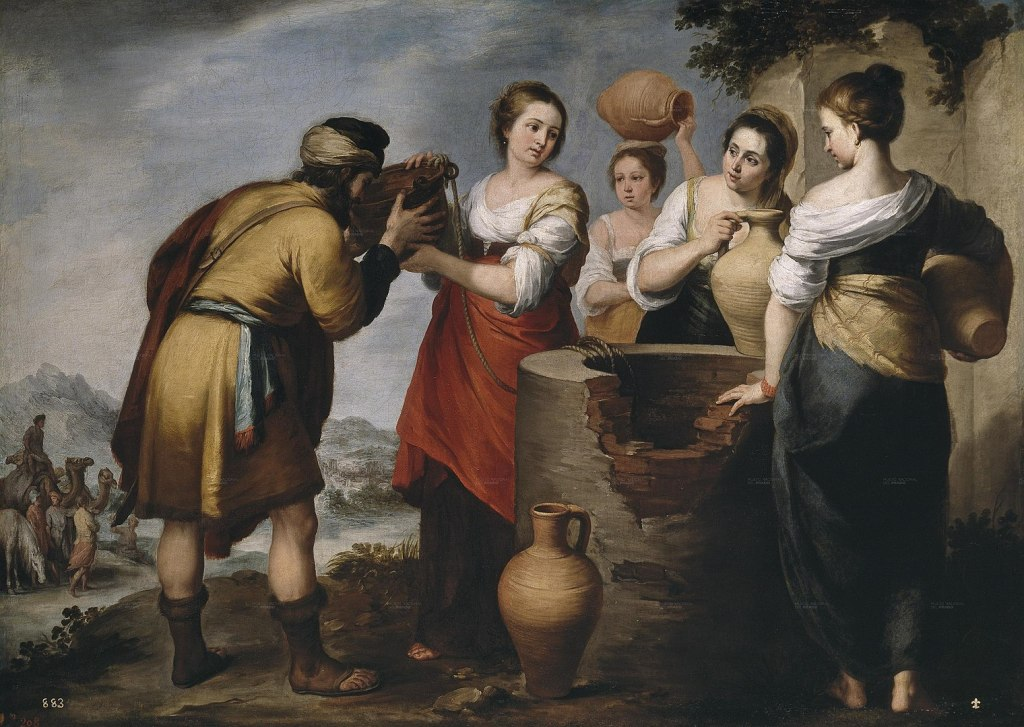 Painting of Rebecca and Eliezer by Bartolomé Esteban Murillo