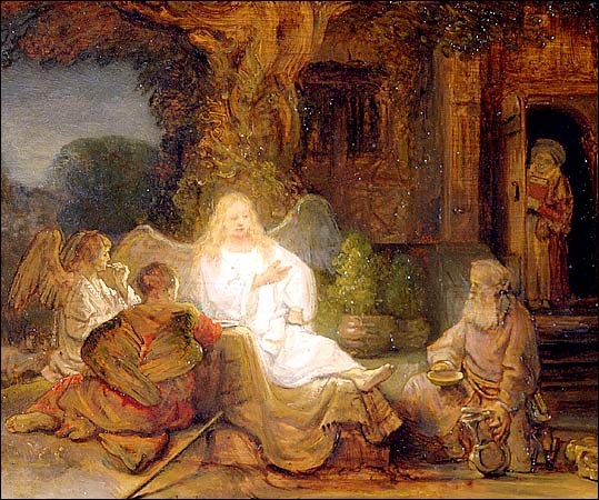 Abraham Serving the Three Angels by Rembrandt