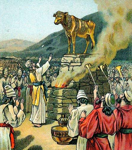 Aaron and Israelites worshipping a golden calf raised on a platform with smoke from an altar and trumpets