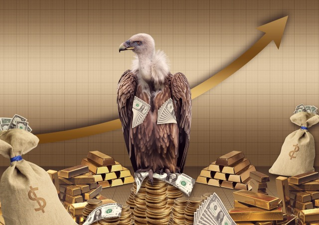 Vulture hoarding dollars and gold.