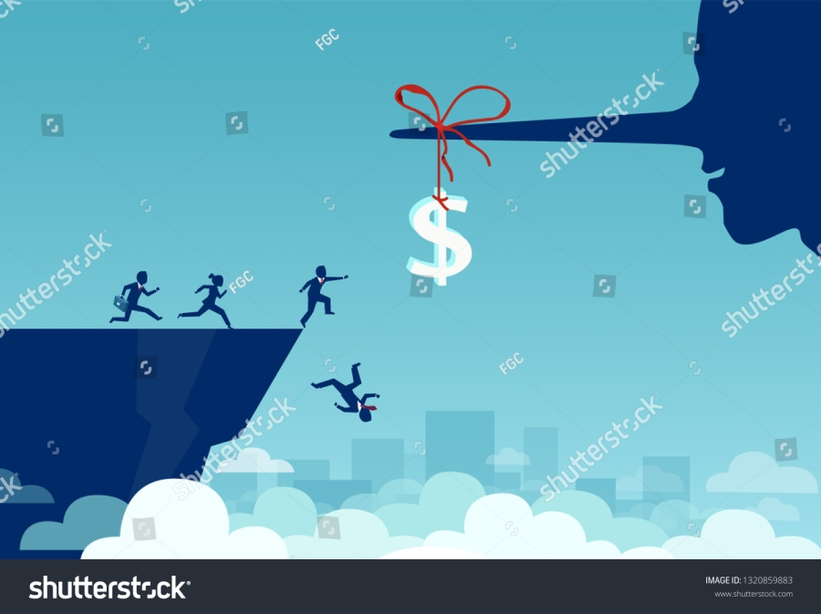concept money trap dollar sign attached to a lying nose, a group of business people jumping off a cliff trying to grab the dollar